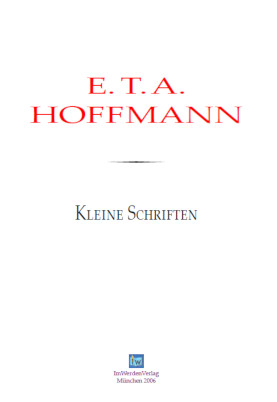 cover: Hoffmann, Kleine Schriften, 0